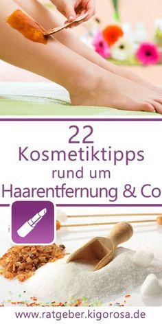22 Kosmetiktipps rund um Enthaarung und Co - Ob Honig-Ölwickel oder Salz-Milch-Körperpeeling, hier erfährst du, wie du dir 22 Pflegeprodukte selbst herstellen und sofort anwenden kannst. Die Zutaten hast du in der Regel sowieso zuhause. Alle Kosmetiktipps sind einfach und schnell anwendbar und sparen nicht an praktischen Hinweisen. Freckles, Hair Removal, Beauty Products, Dry Skin, Salt, Milk, Simple