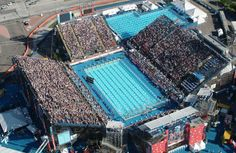 The site of the 1st battle of Phelps & Lochte. A pool built in a parking lot for US Trials in Long Beach in 2004.