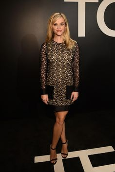 Reese Witherspoon in a classic mini shift dress at Tom Ford F/W '15 in Los Angeles