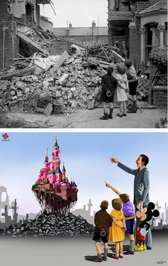 Rendered homeless by German bombs during the Blitz, a London boy points out his bedroom to friends in 1940.