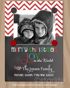 Chevron Red White Chalkboard - Christmas Photo Card - Holiday Photo Card - Colorful - 1 photo - PRINTABLE CARD DESIGN. $18.00, via Etsy.