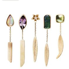 Charlotte Wendes let's get personal earrings. Sold as singles… 18k gold and semi-precious stones