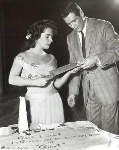 "Elizabeth Taylor with Rock Hudson on the set of ""Giant"" (1956)"