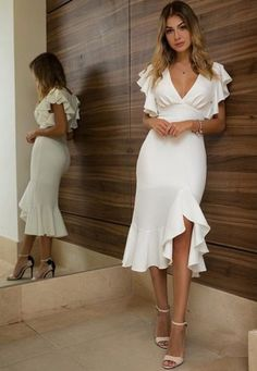 gorgeous mermaid side slit prom dress short flare sleeves prom dressv neck prom dress formal evening dressEvening new fashion Prom Dresses With Sleeves, Simple Dresses, Elegant Dresses, Pretty Dresses, Beautiful Dresses, Short Dresses, Summer Dresses, Maxi Dresses, Formal Evening Dresses