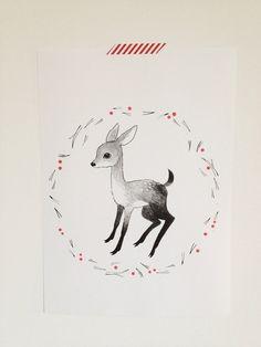 Fawn++A3+Risograph+print+by+jennisaarenkyla+on+Etsy,+£11.90