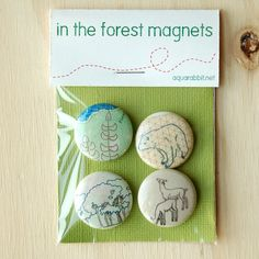 In The Forest - Magnet Set - Woodland-themed artwork by Dana Robson. $8.00, via Etsy.