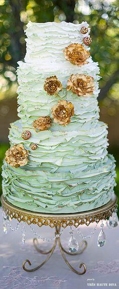Ombre green ♔ #mint green wedding cake
