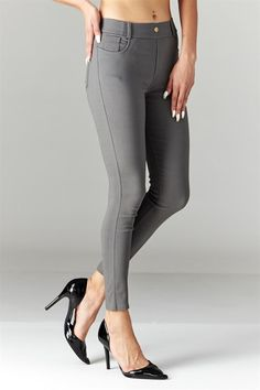 A strong foundation to a solid sense of style begins with having good basics. Let these skinny pants be your new best friend. The look of skinny jeans with the comfort of cotton-blend leggings. Features 5 real pockets for those days when you dont want to carry a bag. So comfortable, you probably will never take them off.