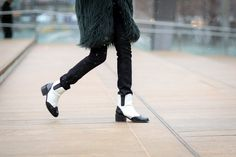 30+ Drop-Dead-Gorgeous Shoes Spotted In New York City #refinery29  http://www.refinery29.com/2015/02/82248/best-fashion-week-2015-shoes#slide-14  When the weather calls for practicality...