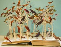 Bird book sculpture