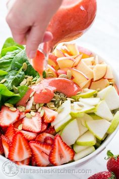 Strawberry, Apple & Pear Spinach Salad with a Strawberry Vinaigrette. Healthy and delicious! @NatashasKitchen