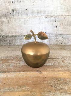Brass Apple Brass Box Vintage Brass Trinket Dish Apple Shaped Box Lidded Jewelry Dish Brass Fruit Figurine Mid Century Decor by TheDustyOldShack on Etsy