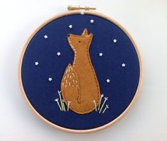 Felt fox hoop art. Hand sewn embroidery hoop art. by BoxRoomBazaar