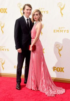 Actors Paul Dano (L) and Zoe Kazan attend the 67th Annual Primetime Emmy Awards at Microsoft Theater on September 20, 2015 in Los Angeles, California.