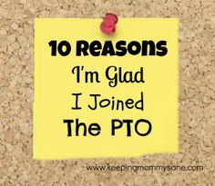 10 Reasons I'm Glad I Joined the PTO by Keeping Mommy Sane...  if  i had kids,  id  so be involved with the PTO  and  their school...  loved  my mom going on field  trips  etc