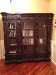Antique Bookcase Large 7 Feet Tall Bold Ornately Carved Wood & Floated Glass