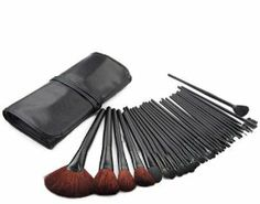 32pcs Goat Hair Makeup Brushes with Pouch Professional Cosmetic Tools by blue moon. $34.40. 32pcs goat hair makeup brushes set with pouch. Hair Material: Goat Hair. Package: 32pcs brushes with pouch Quantity: 1set Hair Material: Goat Hair Handle Material: Wood