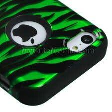 Zebra print case(green and black)