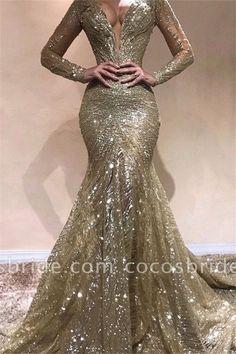 Elegant Mermaid V-Neck Long Sleeves Sequins Long Prom Dress Sequin Prom Dresses, Prom Dresses Long With Sleeves, Mermaid Prom Dresses, Wedding Dresses, Maxi Dresses, Party Dresses, Bridesmaid Dresses, Corset Dresses, Dress Prom
