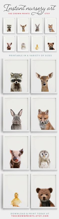 How cute are these! This is a set of 8 prints but they sell them separately as well! Woodland nursery decor, printable art, instant download. #woodland #nursery #artprint #download #instantdownload #wallart #nurserywallart #animals #babyanimals #nurseryart #ad