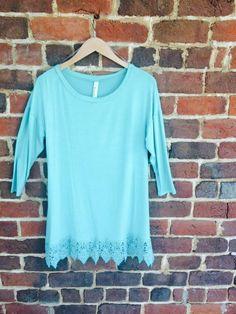 Mint Lace Trim Tunic - $30
