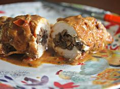 Mushroom Duxelles-Stuffed Chicken Paprikash: Click here for full recipe: http://cookwithcelina.blogspot.com/2014/08/mushroom-duxelles-stuffed-chicken.html