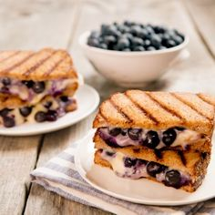 Change up the color and texture of a simple grilled cheese - just add blueberries for a simple snack to help savor the summer.