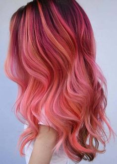 52 Popular Pink Hair Colors for Long Wavy Hair in Browse this post to see the stunning ideas of pink hair colors for long wavy and straight hairstyles. Just visit here and get ready by these modern shades of pink hair color to get wowed hair colors Pink Ombre Hair, Hair Color Pink, Hair Dye Colors, Pastel Hair, Cool Hair Color, Pastel Pink, Bright Pink Hair, Orange And Pink Hair, Lilac Hair