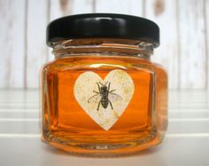 Vintage honey bee heart labels, backyard beekeeper gift, wedding shower favors, mason jar labels, kiss candy stickers, rustic envelope seals