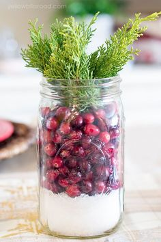 Epsom salt, cranberry and juniper centerpiece
