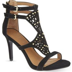 KG KURT GEIGER Harem suede heeled sandals ($145) ❤ liked on Polyvore featuring shoes, sandals, black, black high heel shoes, ankle wrap sandals, black suede shoes, black shoes and open toe sandals