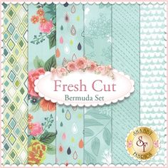 Fresh Cut 6 FQ Set - Bermuda by BasicGrey for Moda Fabrics: Fresh Cut is a collection by BasicGrey for Moda Fabrics. 100% cotton. This set contains 6 fat quarters, each measuring approximately 18