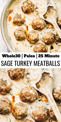 Unbelievably easy oven baked Paleo turkey meatballs and sage cream sauce. (Gluten free, whole30, paleo). Perfect for a weeknight dinner or breakfast! On the table in LESS than 25 minutes! Easy whole30 dinner recipe for meal prep for the family! #whole30 #paleo #dinner