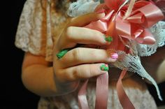 floral/stripe nail art