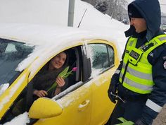 Lithuanian police tradition: pull over every female driver on International Women's Day and give them flowers