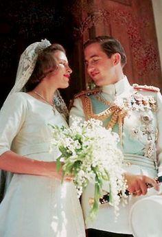 King Constantine II & his bride, Anne-Marie of Denmark