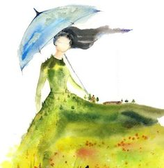 "8x10 Art Print ""Lady of Glade"" spirit woman watercolor landscape Canadian prairy farmhouse guardian poppies blue umbrella wind Oladesign."