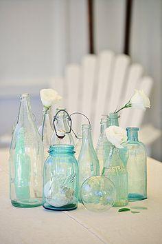 a beach cottage coastal vintage style blog sea glass bottles abeachcottage.com