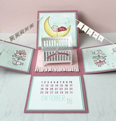 """Eine Explosionsbox zur Geburt mit dem tollen Stempelset """"Moon Baby"""" An explosion box for the birth with the great stamp set """"Moon Baby"""" birth… Box Cards Tutorial, Card Tutorials, Card In A Box, Cool Paper Crafts, Exploding Box Card, Baby Nursery Diy, Baby Box, New Baby Cards, Up Book"""