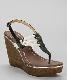 Another great find on #zulily! Black Perry Wedge Sandal #zulilyfinds