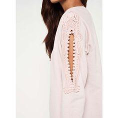 Miss Selfridge Crochet Cold Shoulder Jumper Dress ($40) ❤ liked on Polyvore featuring dresses, pink, cut out shoulder dress, pink dress, pink crochet dress, open shoulder dress and crochet dress