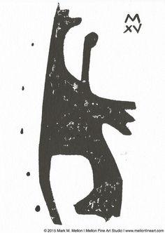 SHADOWS No. 9  Original Signed Cut-Out Monoprint by mellonfineart