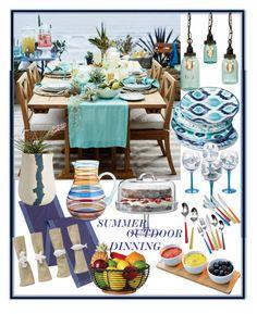 """SUMMER OUTDOOR DINNING!!!"" by kskafida ❤ liked on Polyvore featuring interior, interiors, interior design, home, home decor, interior decorating, Mudhut, Certified International, Pier 1 Imports and BTW Ceramics"