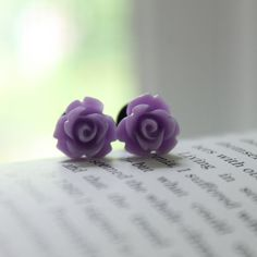 Rose Plugs Size 4g 2g 0g 00g Lavender Purple by somedaysoonjewelry
