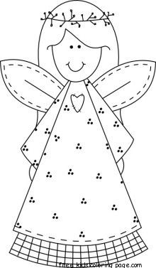 Print out Christmas smile face angel coloring pages - Free Printable Coloring Pages For Kids.