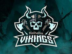 Valhalla Vikings Logo by - Dribbble Game Logo Design, Cool Logos Design, Design Design, Viking Logo, Esports Logo, E Sport, Skull Logo, Photography Logo Design, Logo Sticker
