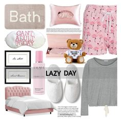 """""""Sleep In: Lazy Day - TS Nov 25th, 2017"""" by crochetragrug ❤ liked on Polyvore featuring Venus, Eberjey, Pottery Barn, Slip, Orlane and Moschino"""