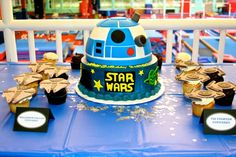 The Star Wars cake was flanked by our Millenium Falcon and TIE Fighter cupcakes.