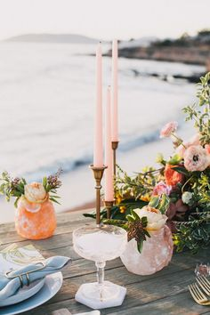 romantic table decor - photo by Alexandra Wallace http://ruffledblog.com/tranquil-bohemian-beach-wedding-inspiration