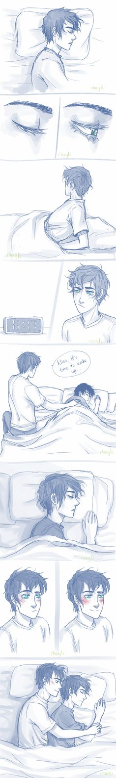Pernico.  I'm going to explode!  Nico smiles when Percy gets in bed with him. :D